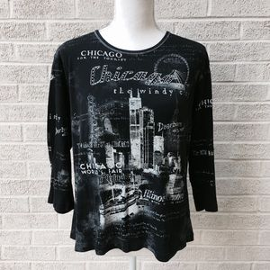 Chicago Black Graphic 3/4 Sleeve Top Size XL